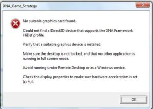 No supported graphics device found